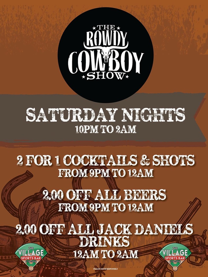 The Rowdy Cowboy Show @ The Village Sports Bar 10p-2am - White Bear Lake, MN