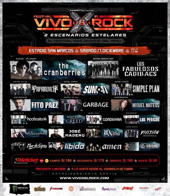 "Simple Plan @ Festival ""VIVO X El ROCK"" - Lima, Peru"