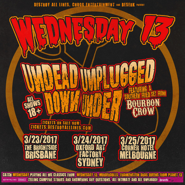 Wednesday 13 @ The Brightside - Brisbane, Australia