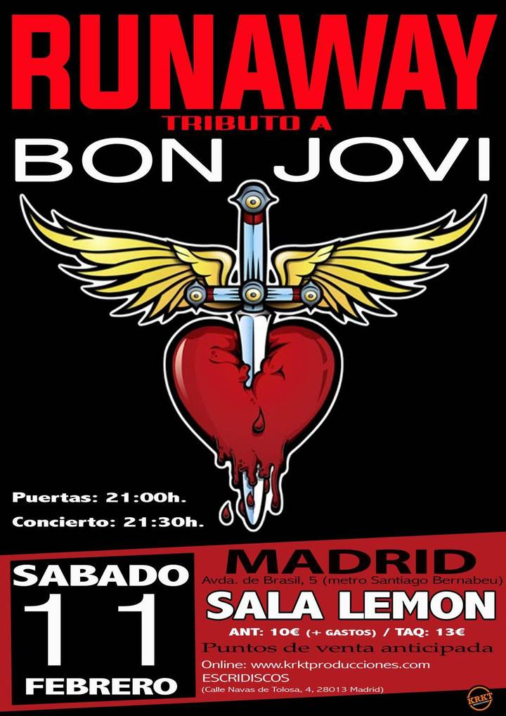Runaway - Tributo a Bon Jovi Bilbao @ Sala Lemon - Madrid, Spain