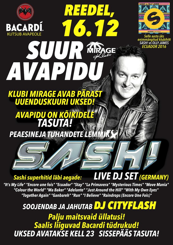 DJ Sash @ Mirage Nightclub - Parnu, Estonia