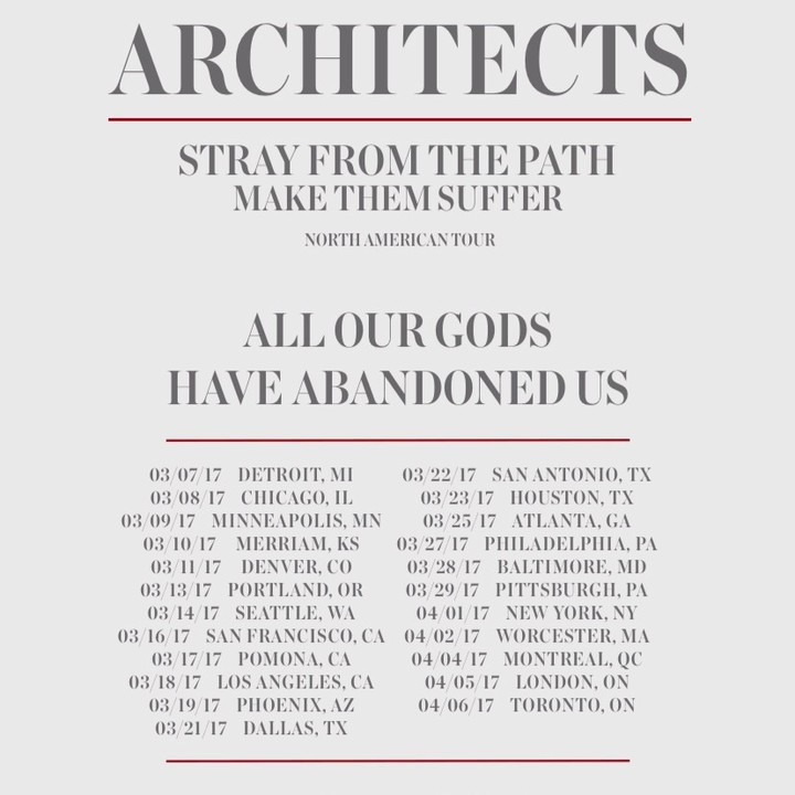 Architects Tour Dates