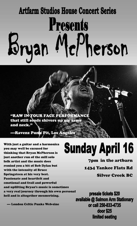 Bryan McPherson @ Artfrm Studios House Concert - Salmon Arm, Canada