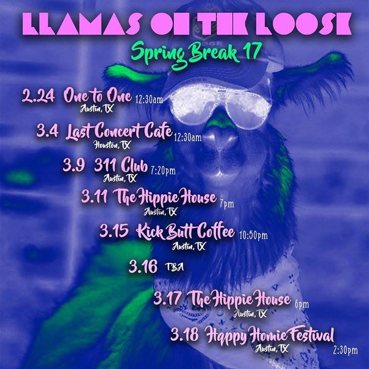 Llamas on the Loose Tour Dates