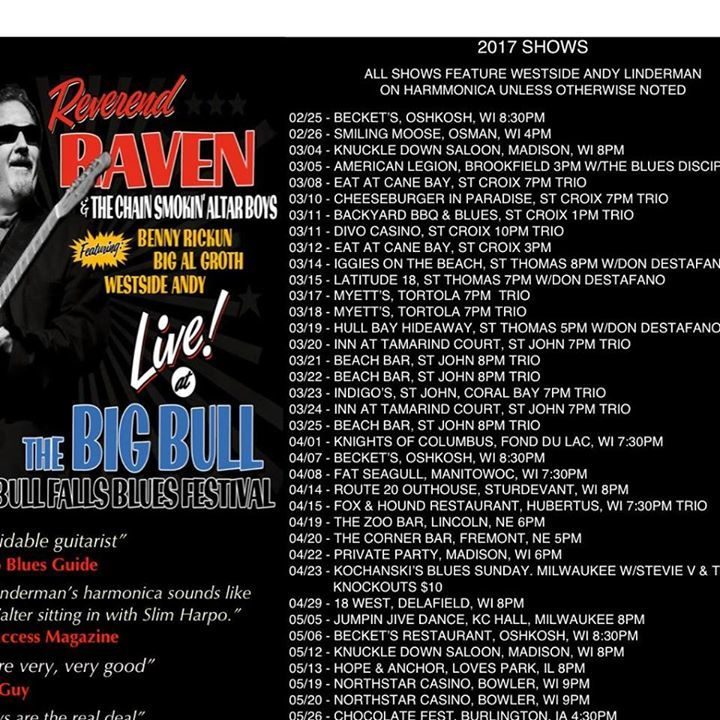 Reverend Raven @ Three Lakes PAC 8pm - Three Lakes, WI
