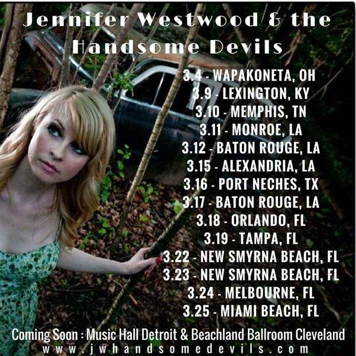 Jennifer Westwood And The Handsome Devils Tour Dates