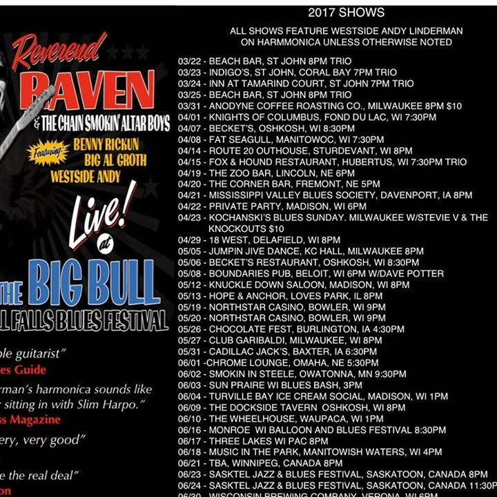Reverend Raven @ Becket's 8:30pm - Oshkosh, WI