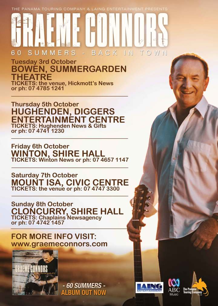 Graeme Connors @ Cloncurry Shire Hall (Tix: 07 4742 1457) - Cloncurry, Australia