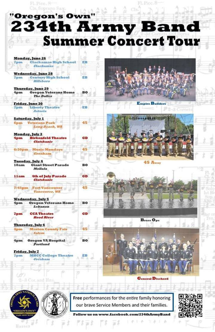 234th Army Band Tour Dates