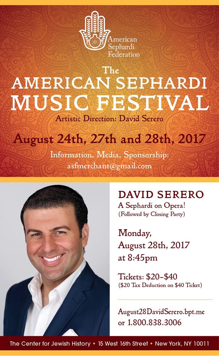 David Serero , Opera Singer Baritone @ Center for Jewish History - New York, NY