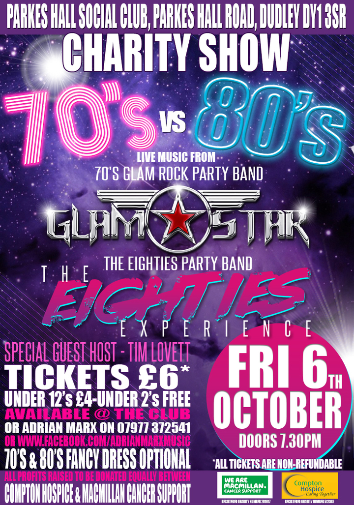 Theeightiesexperience @ Parkes Hall Social Charity Show (BAND Show with GlamStar) - Dudley, United Kingdom