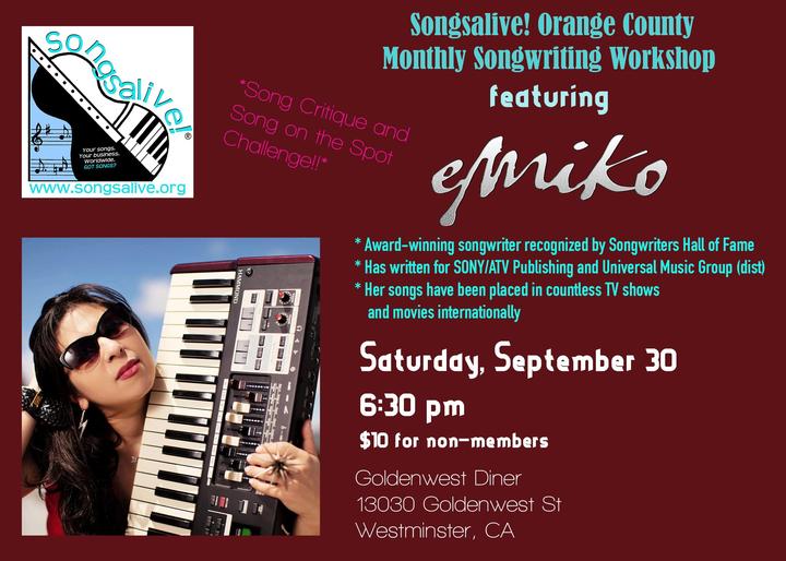 emiko @ Songsalive! Orange County Monthly Songwriting Workshop - Westminster, CA
