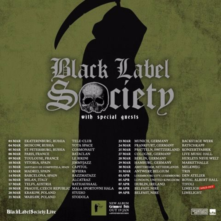 Black Label Society @ Limelight - Belfast, United Kingdom