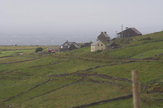A collection of houses looking out over the Atlantic ocean.