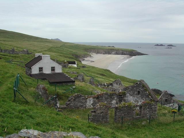 Abandoned cottages overlooking the beach on An Blascaod Mór island, just off the coast of Kerry.