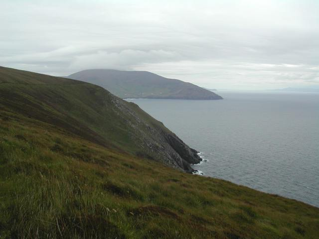 View from the south side of the Great Blasket I s land with the tip of the Dingle Peninsula in the background.