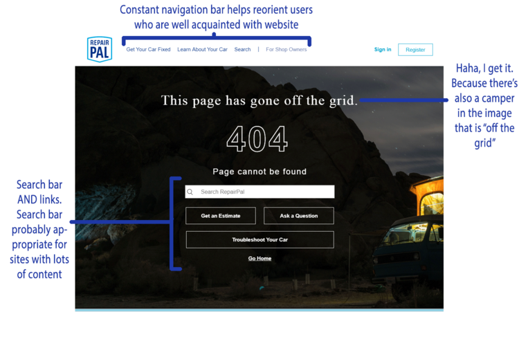 Ux 404 page competitive analysis repair pal