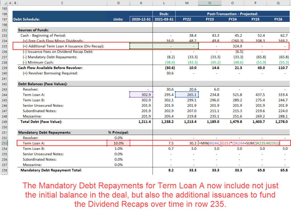 Dividend Recap in Mandatory Debt Repayments of an LBO Model