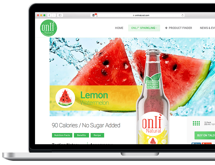 ONLI Natural website powered by bizProWeb