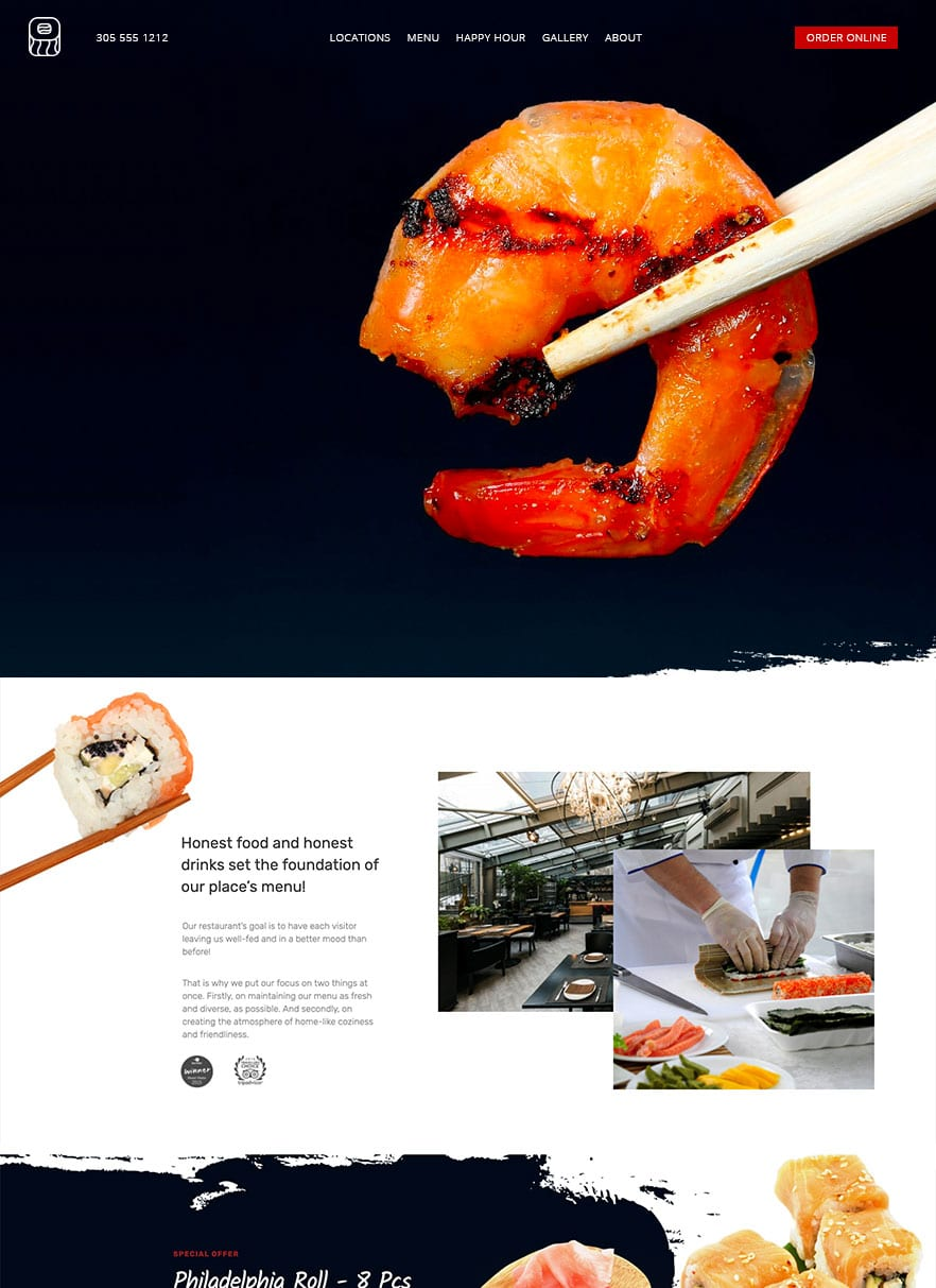 Restaurant website design with bizProWeb - Website Builder for Business