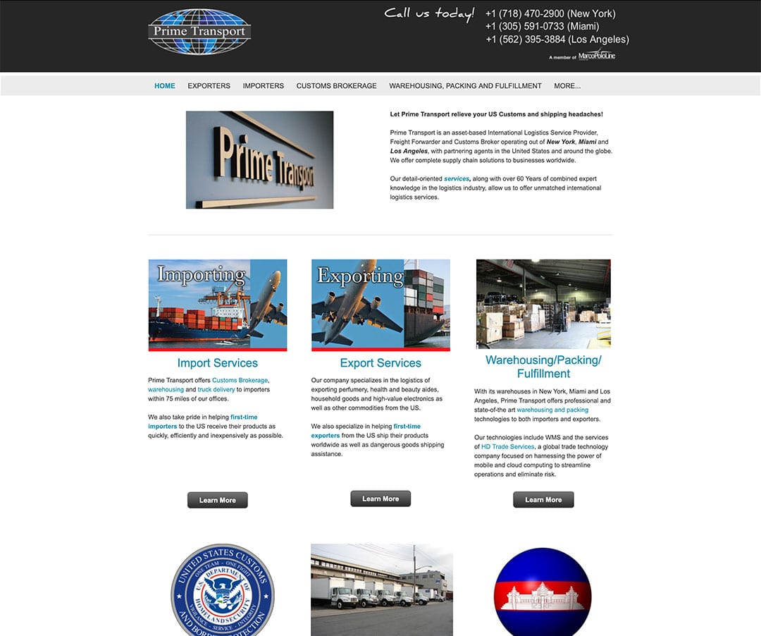 Corporate website design with bizProWeb - Advanced Website Builder - Miami