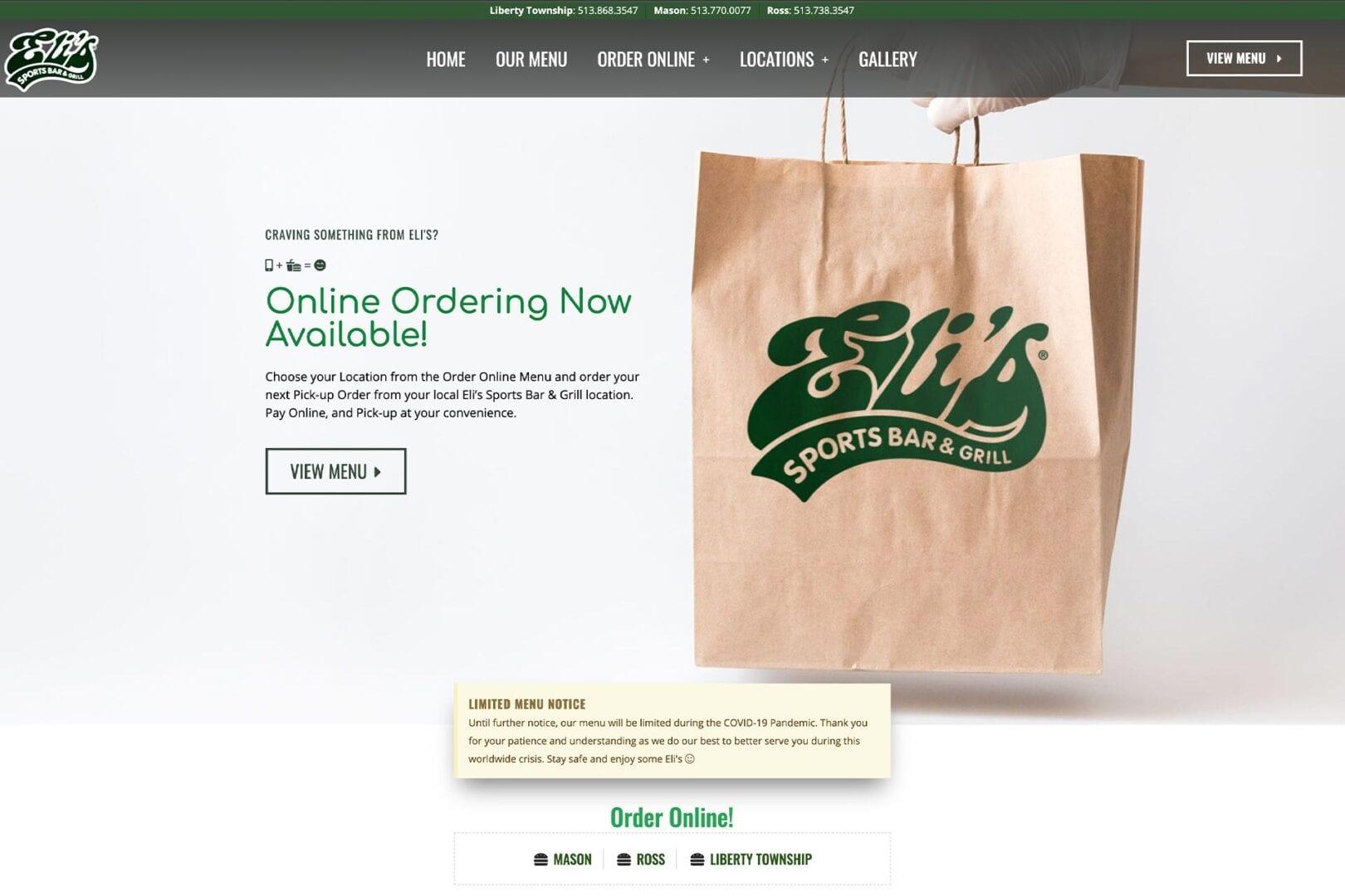 Eli's Sports Bar & Grill located in Cincinnati, Ohio – bizProWeb Restaurant Web Builder