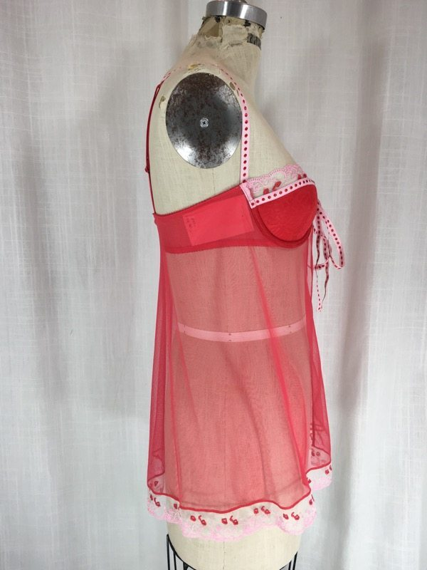 la boudoir miami red sheer babydoll nightgown with embriodered hearts (2)