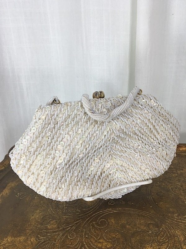 la boudoir miami 1950s white beaded fan shape evening purse (2)