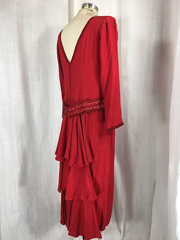la-boudoir-miami-1980s-red-beaded-ruffle-dress-1