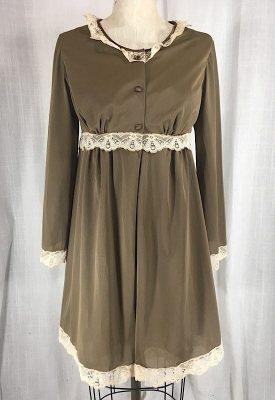 la-boudoir-miami-1960s-brown-beige-lace-babydoll-peignoir-set-1
