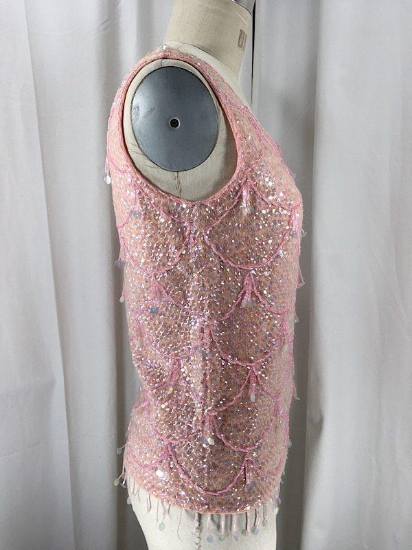 la-boudoir-miami-1960s-baby-pink-iridescent-sequin-sweater-top-2