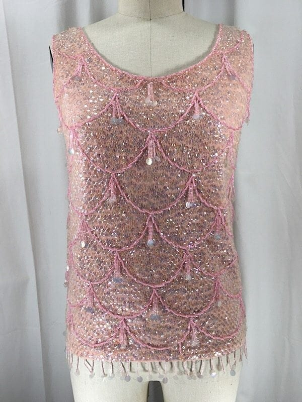 la-boudoir-miami-1960s-baby-pink-iridescent-sequin-sweater-top-2