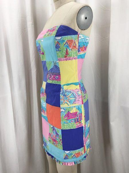 la-boudoir-miami-1990s-lilly-pulitzer-color-block-beach-scene-strapless-dress-3