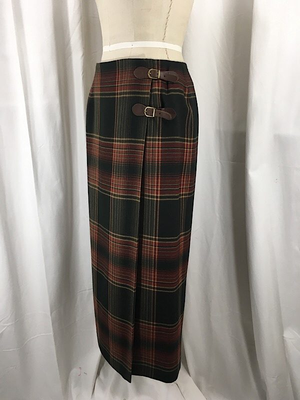 la-boudoir-miami-1990s-lauren-by-ralph-lauren-green-and-brown-plaid-wrap-skirt-2