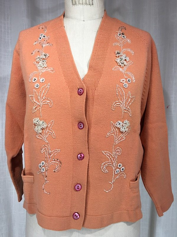 d29c63454 Vintage 1960 s Coral Knit Floral Beaded Sweater