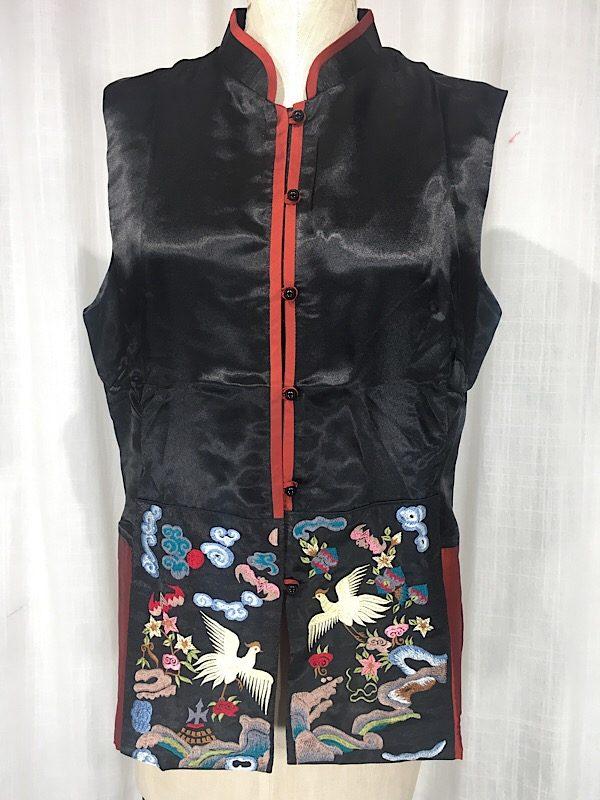 la-boudoir-miami-black-silk-satin-asian-crane-embroidered-blouse-6