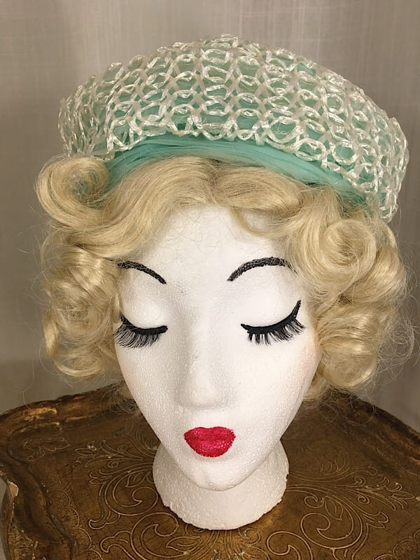 la boudoir miami 1960s turquoise and white straw turbin hat (6)