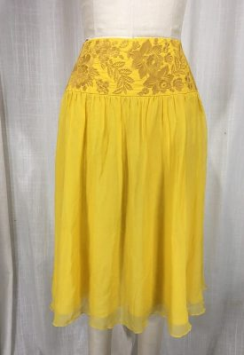 la boudoir miami vintage 1970s yellow embroidered chiffon skirt (5)