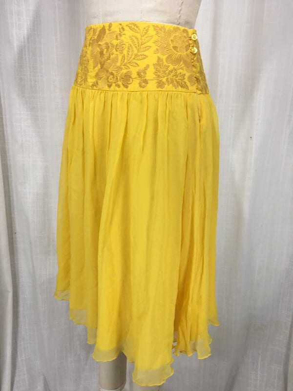 la boudoir miami vintage 1970s yellow embroidered chiffon skirt (5)