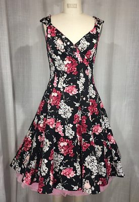 la boudoir miami 1950's black and pink flower print dress (1)