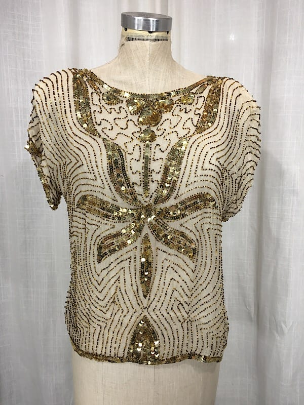 la boudoir miami vintage 1980's beige and gold sequin art deco blouse (1)