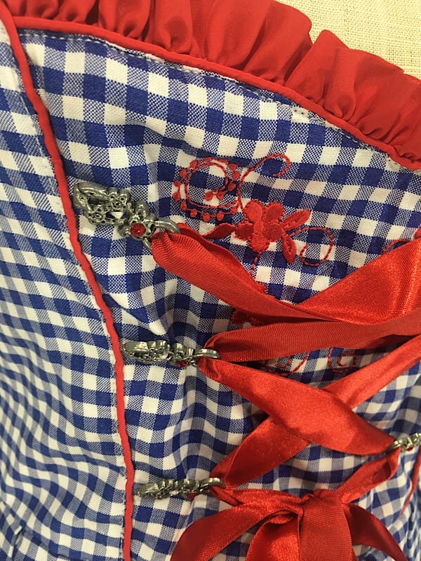 la boudoir miami blue and white gingham dirndl dress with red satin ribbon (3)