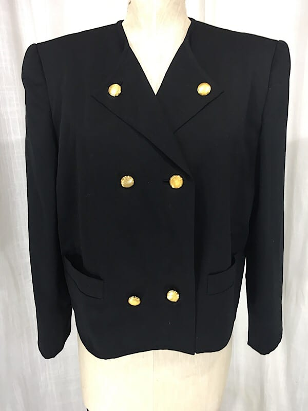 la boudoir miami 1980s lillie rubin black wool oversize double breasted jacket (5)