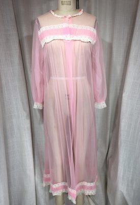 la boudoir miami vintage 1960's pink sheer long sleeve lace robe (3)