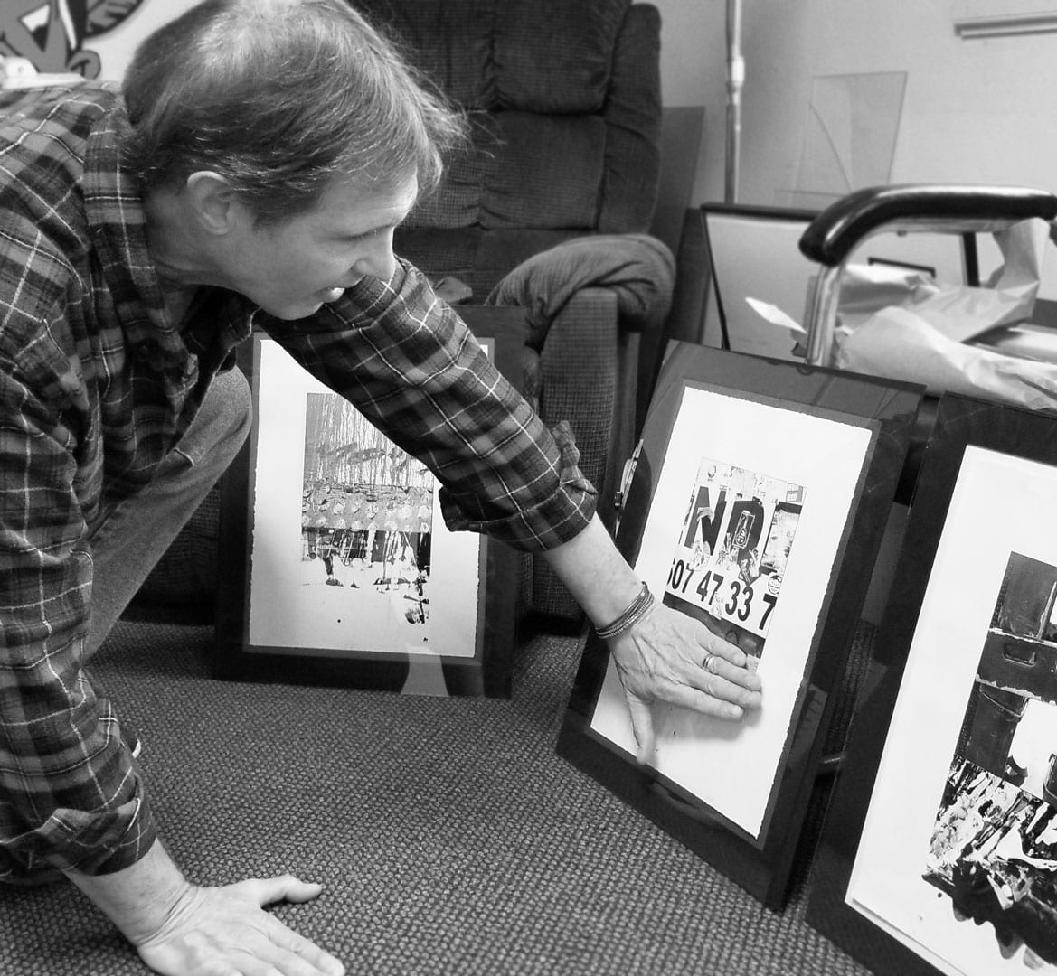 Hal Shunk discussing his art in his office at Wilmington College - Hal Shunk Art