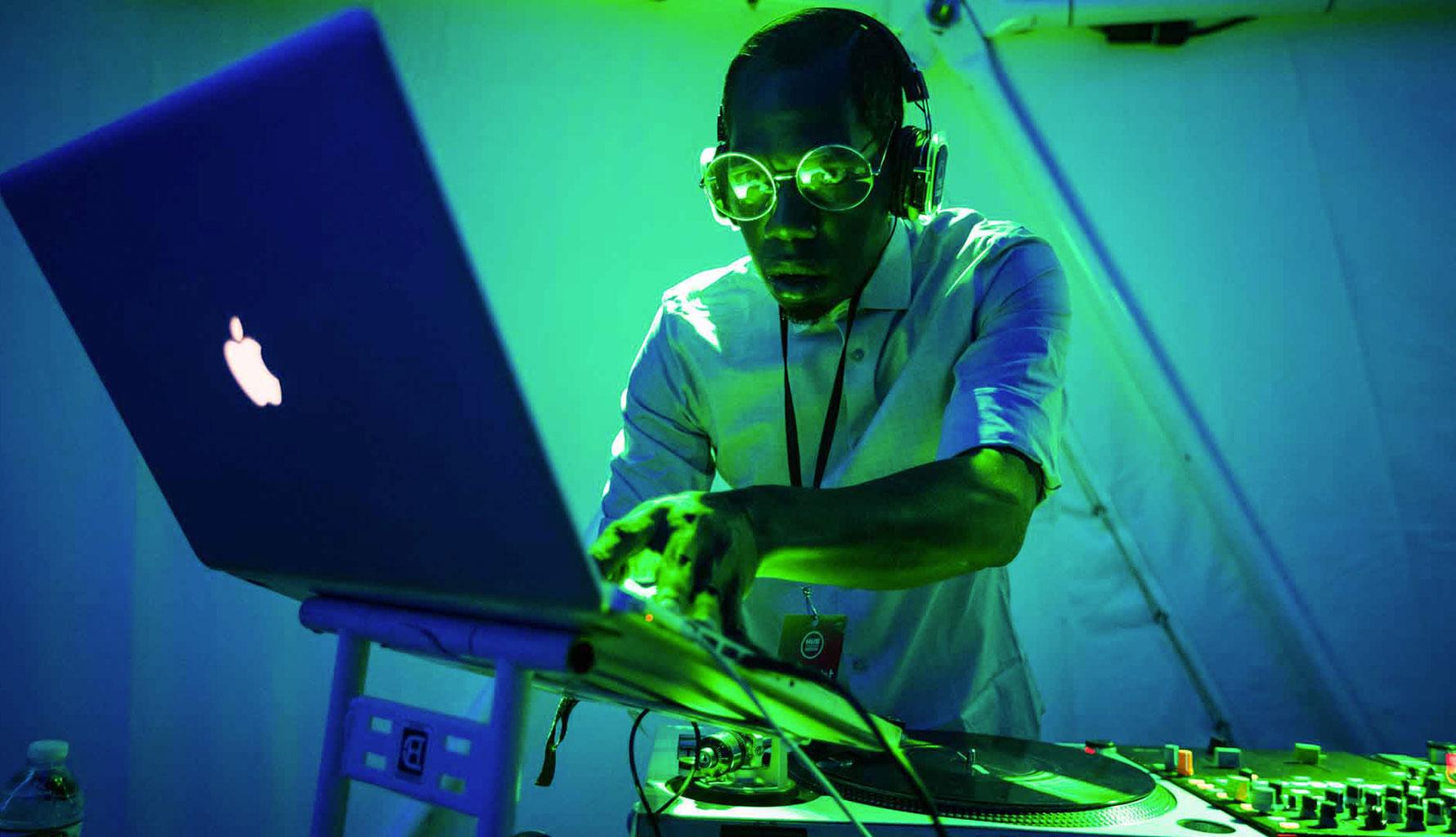 Man DJing