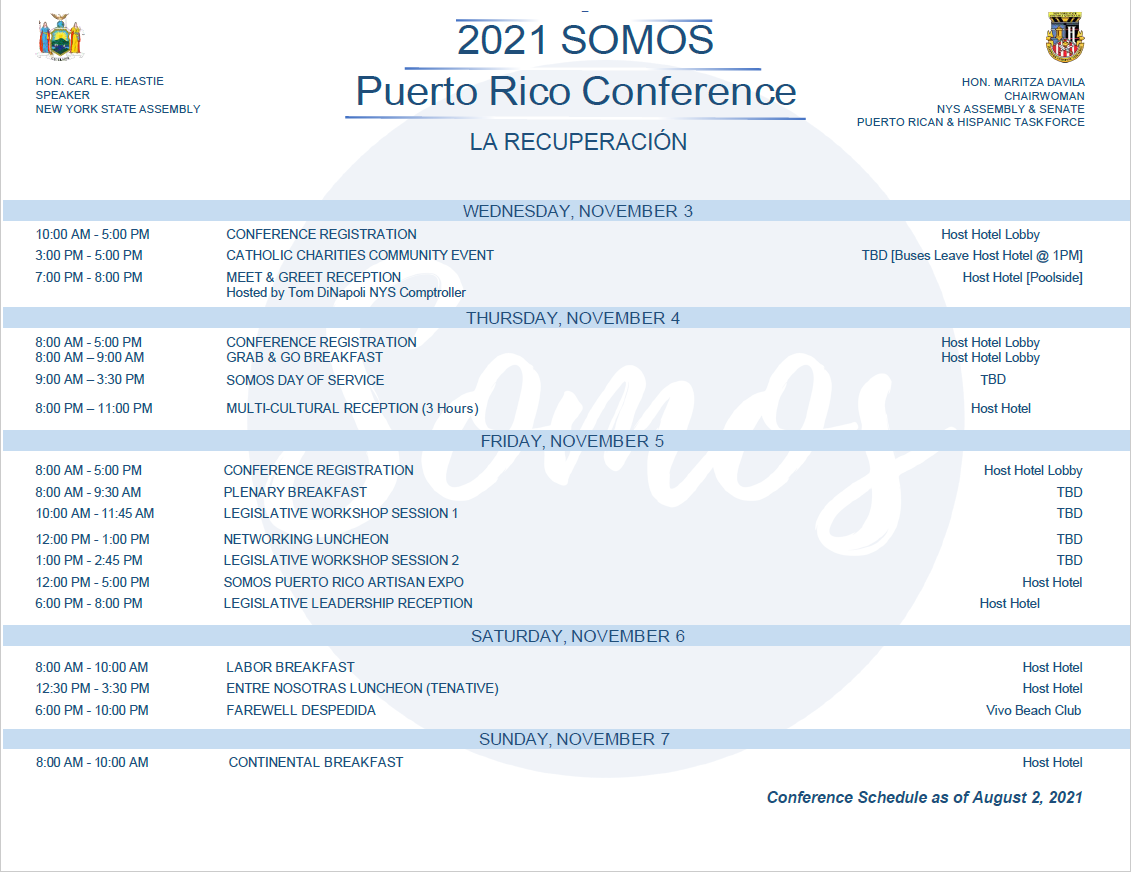 2021 SOMOS Puerto Rico Conference - Tentative Agenda