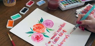 Watercolor florals   lettering listing