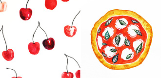 Food illustration watercolors brainery  listing