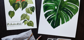 Watercolor house plants brainery listing